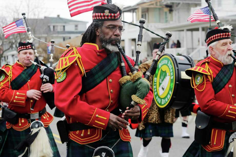The Staten Island Pipes and Drums band marches in the Queens County St. Patrick's Day Parade in the Rockaway section of New York, Saturday, March 2, 2013. Photo: Mark Lennihan, Associated Press / AP