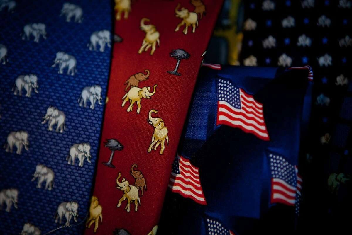 Republican themed ties for sale at the California Republican Party convention, March 2, 2013 in Sacramento, California.
