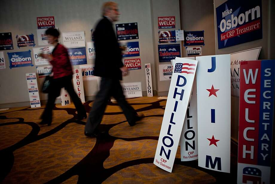 Campaign signage for Californian Republican party offices litters the hallway of the Hyatt, March 2, 2013 in Sacramento, California. Photo: Max Whittaker/Prime, Special To The Chronicle