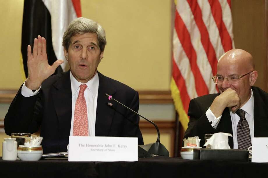 Secretary of State John Kerry spoke to leaders in Cairo. Photo: Jacquelyn Martin / Associated Press