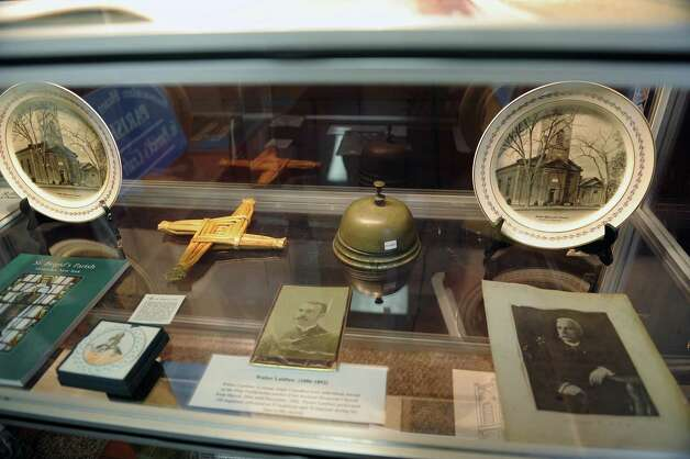 A view of some of the items from various Watervliet churches that are on display as part of an exhibit on the churches of the city at the Watervliet Historical Society on Thursday, Feb. 28, 2013 in Watervliet, NY.  (Paul Buckowski / Times Union) Photo: Paul Buckowski