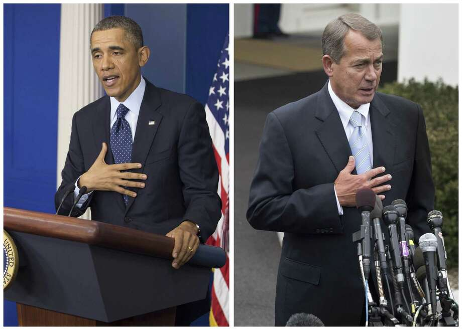 President Barack Obama blamed Republicans and House Speaker John Boehner for sequestration, spending cuts that will result in reduced federal services, job furloughs and layoffs. Photo: Stephen Crowley / New York Times