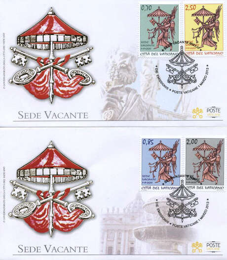 Vatican City issued this set of Vacant See envelopes and four stamps Friday after Pope Benedict XVI's resignation. Photo: Associated Press