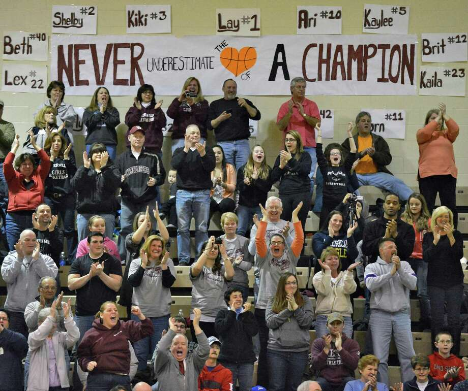 """Vliet' fans cheer as their team wins the Class B girls' final against Ravena at HVCC Saturday March 2, 2013.  (John Carl D'Annibale / Times Union) Photo: John Carl D'Annibale / 10021374A"
