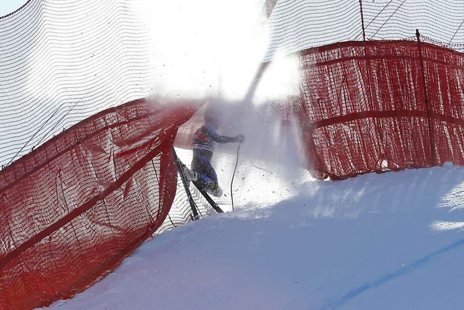 US Jared Goldberg crashes into the security net during the men's downhill race at the FIS Ski World Cup on March 2, 2013 in Kvitfjell, Norway. France's Adrien Theaux won the competition, Norway's Aksel Lund Svindal placed 2nd and Austria's Klaus Kroell placed 3rd. Photo: Cornelius Poppe, AFP/Getty Images