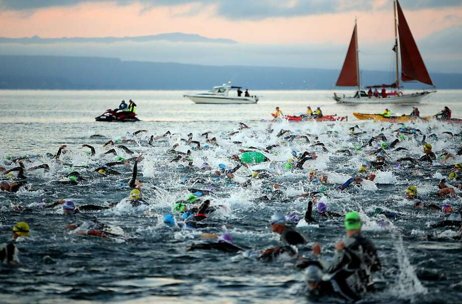 Churning arms and roiling water signal the start of the New Zealand Ironman in Taupo. Photo: Phil Walter, Getty Images