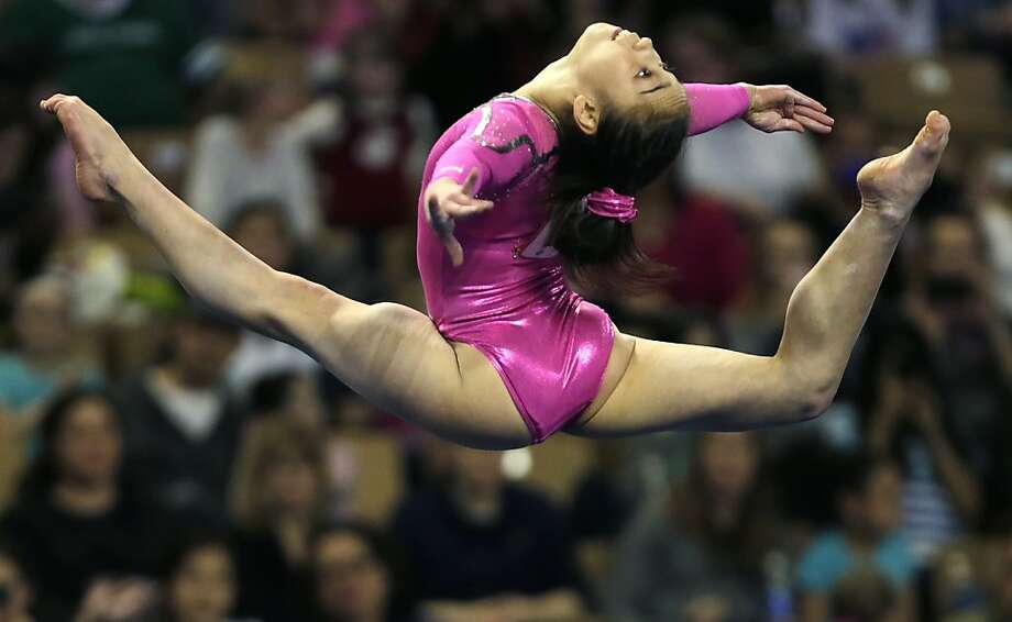 Katelyn Ohashi, of the United States, performs in the floor exercise during the American Cup gymnastics competition in Worcester, Mass., Saturday, March 2, 2013. Ohashi won the event. Photo: Charles Krupa, Associated Press