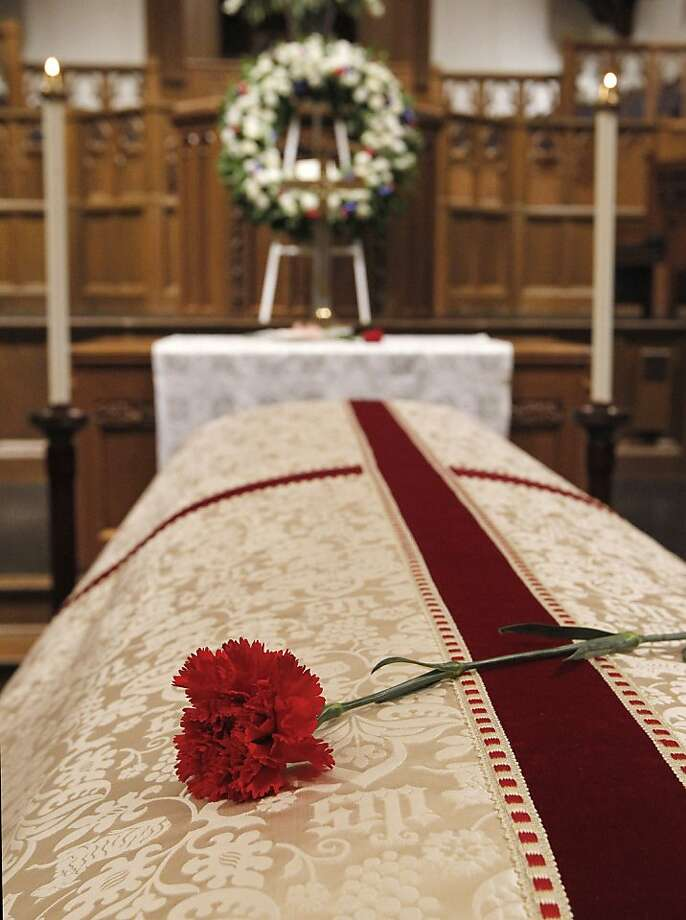 A lone rose lies on the coffin of Van Cliburn following a visitation at Broadway Baptist Church in Fort Worth, Texas on Saturday, March 2, 2013.  Cliburn died Wednesday at 78 after fighting bone cancer. He had played for every American president since Harry Truman, plus royalty and heads of state around the world. But he is best remembered for winning the first International Tchaikovsky Competition in Moscow in 1958, as the height of the Cold War. Photo: Ron T. Ennis, Associated Press