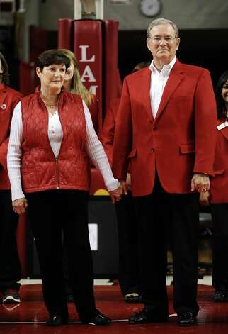 Lamar University President Dr. Jimmy Simmons  and wife Susan are honored during A Standing Ovation for Jimmy and Susan Simmons held at the Montagne Center on Saturday, March 2, 2013. Photo taken: Randy Edwards/The Enterprise