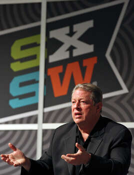 FOR METRO - Former Vice President Al Gore speaks during a discussion with Napster co-founder Sean Parker (not pictured) during South by Southwest Monday March 12, 2012 at the Austin Convention Center in Austin, TX. Photo: EDWARD A. ORNELAS, SAN ANTONIO EXPRESS-NEWS / © SAN ANTONIO EXPRESS-NEWS (NFS)