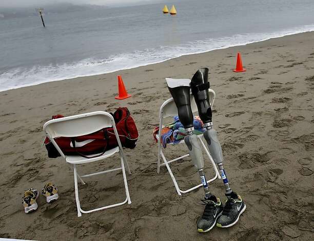 Several triathletes had their artificial limbs ready on the beach for when they emerged from the water. The annual Escape from Alcatraz triathlon was held early Sunday morning March 3, 2013 beginning with a swim in the bay and ending with an eight mile run to the finish line at the Marina Green. Photo: Brant Ward, The Chronicle
