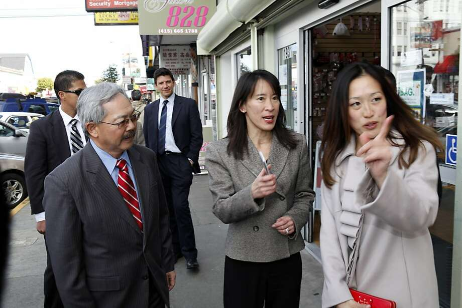 San Francisco Mayor Ed Lee, left, and new supervisor Katy Tang, right, speak with Caroline Yee, center as they  took a walk along Irving Street to meet merchants on Thursday, February 28, 2013, in San Francisco, Calif,. Photo: Carlos Avila Gonzalez, The Chronicle