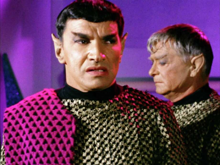 "Seen here from left, Mark Lenard as Romulan Commander and John Warburton as The Centurion (a Romulan) in the STAR TREK episode, ""Balance of Terror.""  Original airdate, December 15, 1966, season 1, episode 14.  Image is a screen grab.  (Photo by CBS via Getty Images) Photo: CBS Photo Archive, Multiple / 1966 CBS Photo Archive"