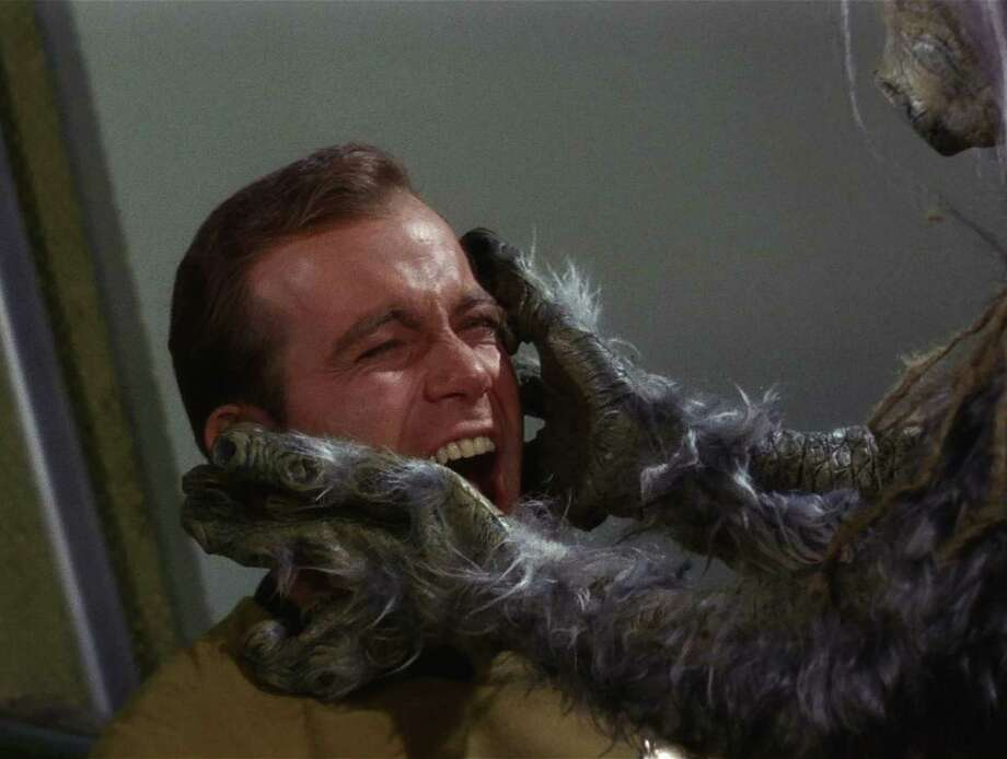 The M-113 Creature attacks Captain James T. Kirk, played by Canadian actor William Shatner, in a scene from 'The Man Trap,' the premiere episode of 'Star Trek,' which aired on September 8, 1966. The monster is alternately known as the Salt Creature or the Salt Vampire. (Photo by CBS Photo Archive/Getty Images) Photo: Frame Grab, Multiple / 2008 CBS WORLDWIDE INC.