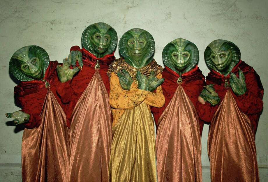 Extras portraying alien creatures on the hit TV show Star Trek-The Next Generation pose during a break in filming on the Hollywood, California, Paramount Studios set. (Photo by George Rose/Getty Images) Photo: George Rose, Multiple / 1987 George Rose