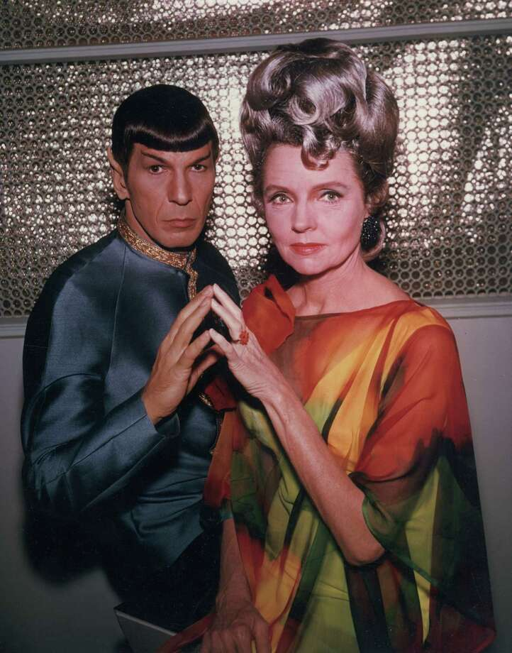 1967:  American actors Leonard Nimoy and Jane Wyatt pose in costume in a promotional portrait for the television series, 'Star Trek,' for an episode entitled 'Journey to Babel'. Wyatt played the human mother of Nimoy's character, Spock.  (Photo by Hulton Archive/Getty Images) Photo: Hulton Archive, Multiple / Archive Photos