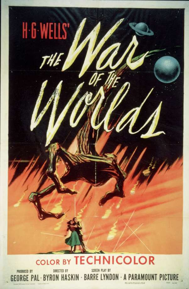 Movie poster for 'The War Of The Worlds,' based on the novel by H. G. Wells and directed by Byron Haskin, 1953. (Photo by Paramount Pictures/Getty Images) Photo: Paramount Pictures, Multiple / 2004 Getty Images