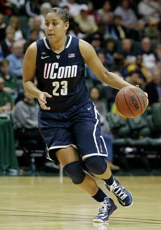 Connecticut forward Kaleena Mosqueda-Lewis (23) during the second half of an NCAA women's college basketball game against South Florida Saturday, March 2, 2013, in Tampa, Fla. Connecticut won the game 85-51. (AP Photo/Chris O'Meara) Photo: Chris O'Meara, Associated Press / AP