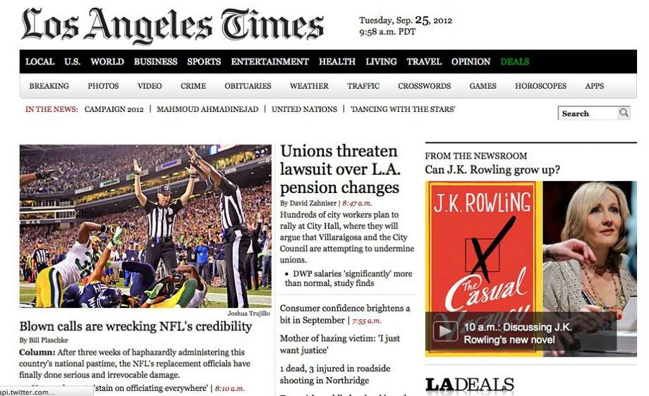 This screenshot shows Lance Easley on the front page of the Los Angeles Times website in September 2012. The featured photo was taken by seattlepi.com's Joshua Trujillo.
