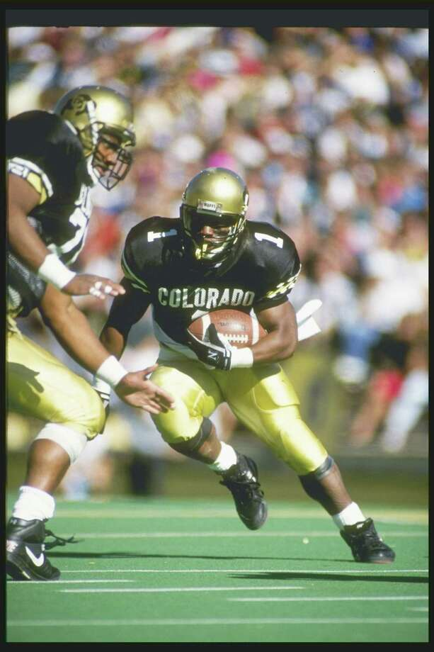Oct. 6, 1990 -- Colorado beats Missouri on fifth downIn the final seconds of this Big Eight showdown, the officials forgot to flip the down marker from second to third down during Colorado's last-minute drive toward the end zone. With the clock ticking away, Buffaloes backup quarterback Charles Johnson spiked the ball on ''third down,'' though it should have been fourth down and a turnover on downs. Officials gave him a fifth down and Johnson kept the ball himself, driving toward the goal line. Though there was further controversy about whether Johnson actually crossed the plane, Colorado was awarded the game-winning touchdown and the Buffaloes beat the Tigers 31-30. Photo: Tim DeFrisco, Getty Images / Getty Images North America