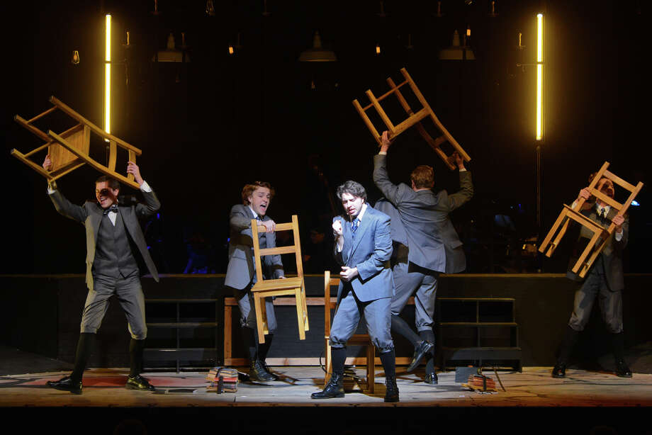 Vincent McCoy, center, plays the role of Melchior in the Western Connecticut Theatre Arts' presentation of Spring Awakening at Berkshire Theatre on the Western Connecticut State University campus in Danbury, Conn. Saturday, March 2, 2013. Photo: Tyler Sizemore / The News-Times