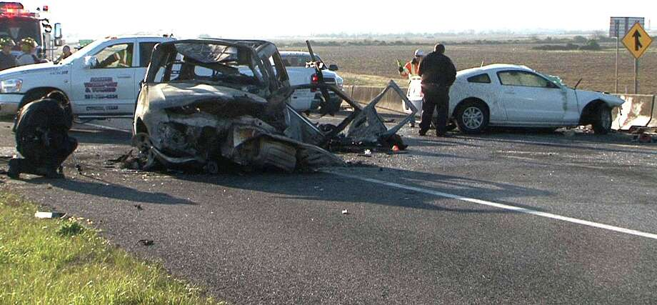 A fiery crash Sunday, March 3, 2013, killed three people,  including two Texas A&M Corps of Cadets members, and injured one person in  northwest Harris County, according to officials. ( Scott Myers / On Scene News)
