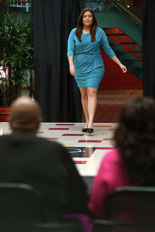 Ashley Carey, 22, of Mission, Texas takes to the catwalk during auditions for The Full Figure Fashion Week 2013 Casting Tour at Wonderlands of the Americas Mall, Sunday, March 3, 2013. Full Figure Fashion Week will be in New York City starting June 17 through June 22, 2013. Photo: Jerry Lara, San Antonio Express-News / ©2013 San Antonio Express-News