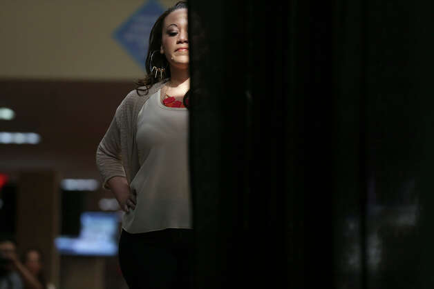 LaVinna Stanton, 34 of Killeen, Texas walks off the catwalk during auditions for The Full Figure Fashion Week 2013 Casting Tour at Wonderlands of the Americas Mall, Sunday, March 3, 2013. Full Figure Fashion Week will be in New York City starting June 17 through June 22, 2013. Photo: Jerry Lara, San Antonio Express-News / ©2013 San Antonio Express-News