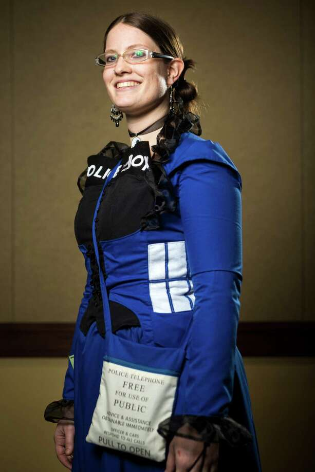"Jessica Blacknall, dressed as ""Tardis Policebox,"" poses for a portrait on the third day of the annual Emerald City Comicon on Sunday, March 3, 2013, in the Washington State Convention Center in Seattle, Wash. Photo: JORDAN STEAD / SEATTLEPI.COM"
