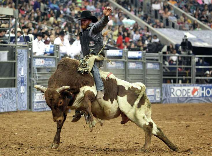 Ty Clearwater competes in the BP Super Series III Round 1 Bull Riding competition during Houston Liv