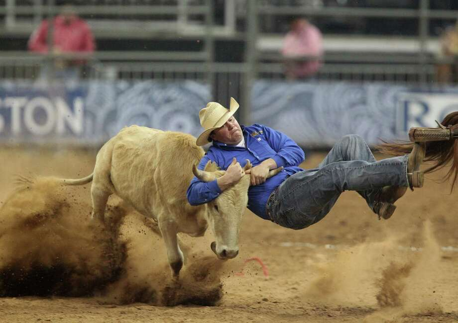 Kody Woodward competes in the BP Super Series III Round 1 Steer Wrestling competition during Houston Livestock Show and Rodeo at Reliant Stadium on Sunday, March 3, 2013, in Houston. Photo: Mayra Beltran, Houston Chronicle / © 2013 Houston Chronicle