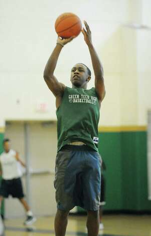 Green Tech High School's Jamil Hood Jr. runs through a drill during practice at the school on Sunday, March 3, 2013 in Albany, NY.    (Paul Buckowski / Times Union) Photo: Paul Buckowski