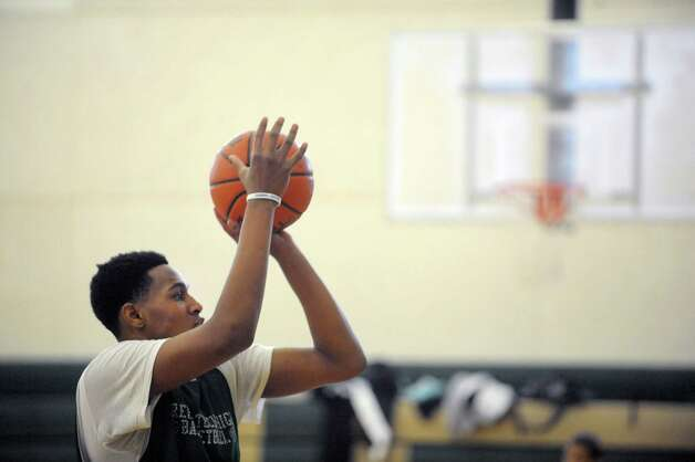 Green Tech High School's Ramion Burt practices his free throw during practice at the school on Sunday, March 3, 2013 in Albany, NY.    (Paul Buckowski / Times Union) Photo: Paul Buckowski