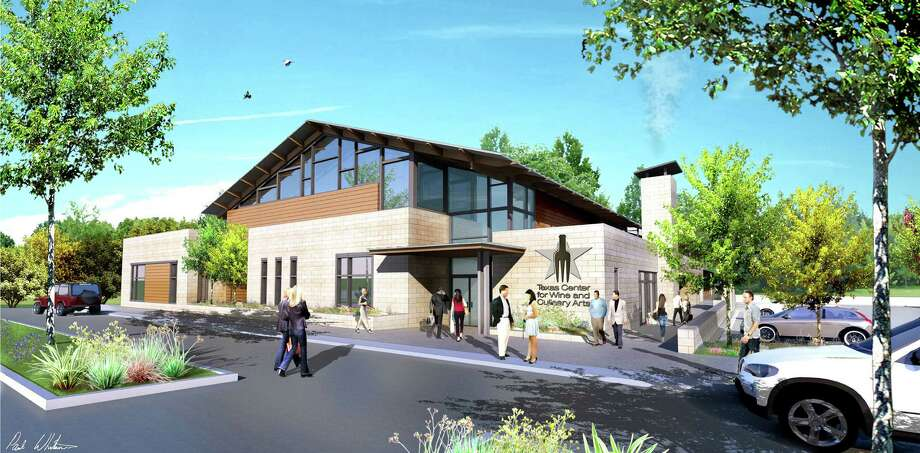 This artist's rendering shows the proposed Texas Center for Wine and Culinary Arts in Fredericksburg. It would feature a restaurant, wine-tasting room and events center. Photo: Courtesy Overland Partners Of San Antonio