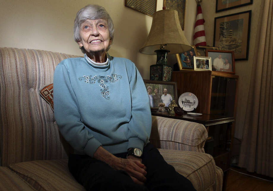 "Dorothy Davis Thompson, 96, was imprisoned for 21 months in a Japanese internment camp in the Philippines in World War II. She wrote a book about her experiences, ""The Road Back: A Pacific POW's Liberation Story."" Photo: Kin Man Hui / San Antonio Express-News"