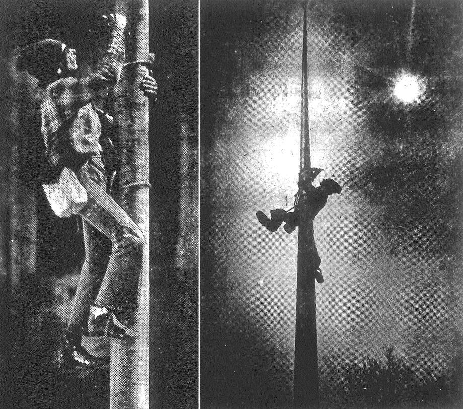 In these two photos, flagpole painter Jack Burris plies his lonely trade halfway up one of the poles in front of the downtown post office. Published in the San Antonio Light March 12, 1983. Photo: File Photo