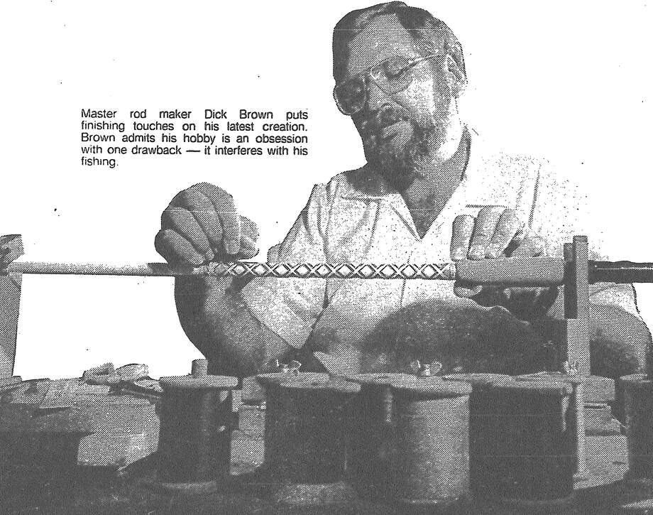 Master rod maker Dick Brown puts finishing touches on his latest creation. Brown admits his hobby is an obsession with one drawback — it interferes with his fishing. Published in the San Antonio Express March 7, 1983. Photo: File Photo