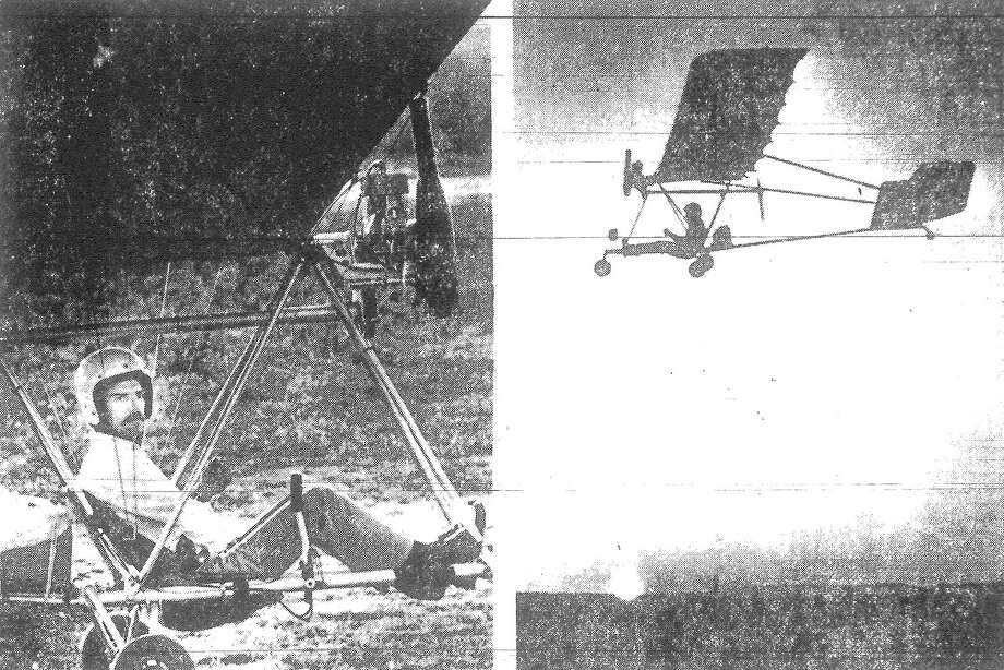 LEFT: Dave Goad, a 26-year-old condo developer from San Antonio, warms up his Vector 610 ultralight aircraft preparing for his long-distance flight from the Yucatan to San Antonio. RIGHT: Goad, who hopes to set a record in May by flying an ultralight 800 miles non-stop over water, soars off in the sunset. Published in the San Antonio Light March 19, 1983. Photo: File Photo