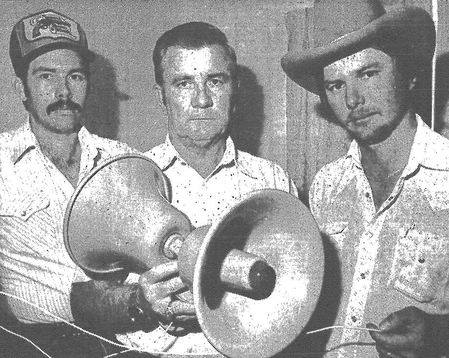 Bill Spaulding (from left), Curtis Allred Sr. and Curtis Allred Jr., used this homemade listening device to catch a man suspected of breaking into the house of a woman who had fled her home after being sexually assaulted there twice. After the device picked up sounds at the vacated house, the men arrived to see a man leave through the rear of the house and jump over a fence, they reported. The men gave chase, caught the suspect and held him until police arrived. Joseph Frank Smith was arrested, wearing only a ski mask and socks and carrying his bundled clothes in his hand, police said. Published in the San Antonio Express March 19, 1983. Photo: File Photo