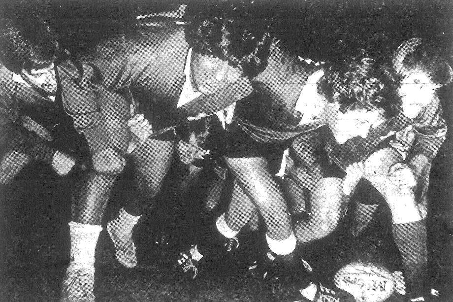 Members of the San Antonio rugby team clown around during a recent practice at Olmos Park. The team left this morning on an 11-day tour of Ireland that will include games and a meeting with the mayor of Dublin. Published in the San Antonio Light March 17, 1983. Photo: File Photo