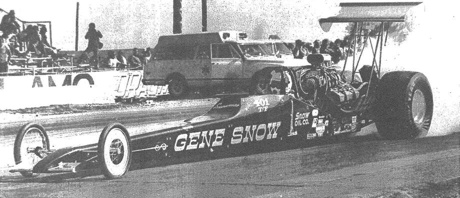 Gene Snow takes off in his top fuel dragster at Alamo Dragway during the American Hot Rod Association National event. Snow has won a half dozen times as a top fueler, beating legendary Don Garlits in the head-up finals twice. Published in the San Antonio Express March 27, 1983. Photo: File Photo