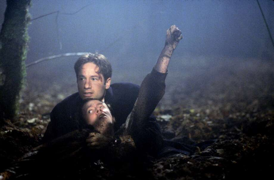 "Mostly filmed in Vancouver, B.C., ''""The X-Files""'' featured a lot of dark, damp, spooky settings (woods, deserted streets, prisons, basements, etc.). Here''s Mulder in the 1997 episode ''""Schizogeny.''"""