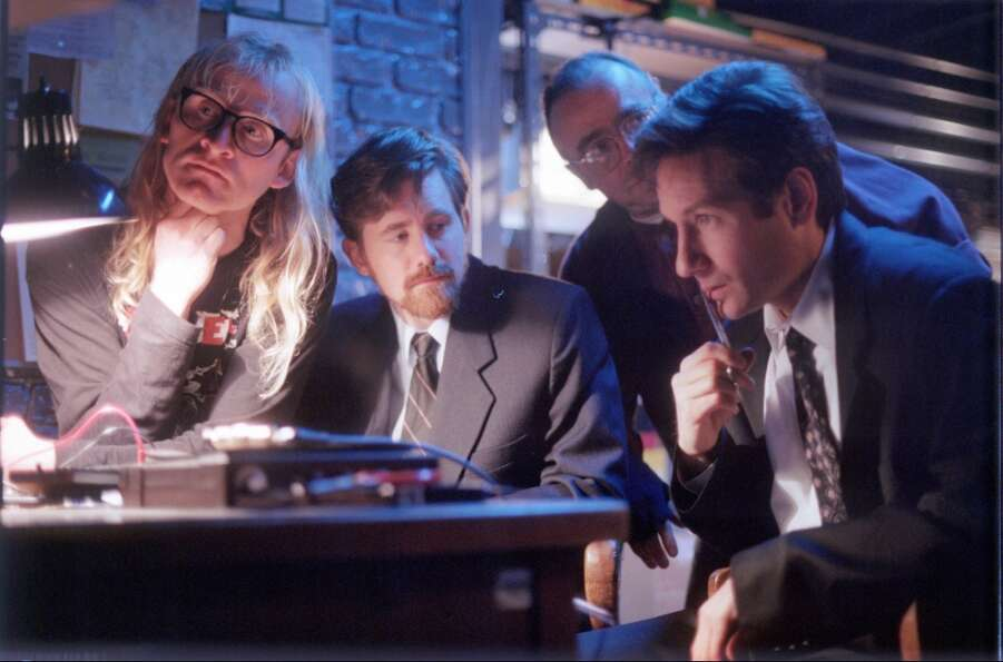 "But they did have help of the ""Lone Gunmen,"" a trio of conspiracists,  played (l to r) by Dean Hag"