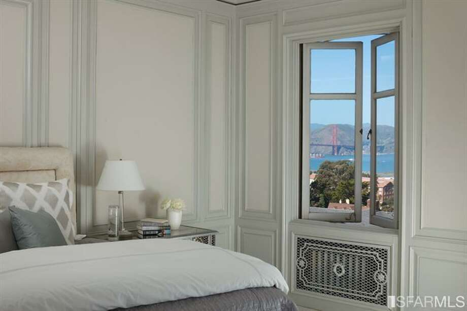 Master bedroom looks out to views of the bay