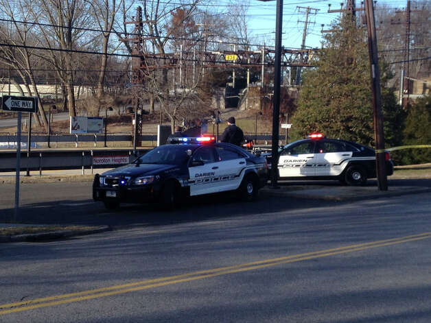 The scene at Noroton Heights train station after a pedestrian was fatally struck by a train, Monday March 4. Photo: Contributed / Connecticut Post Contributed