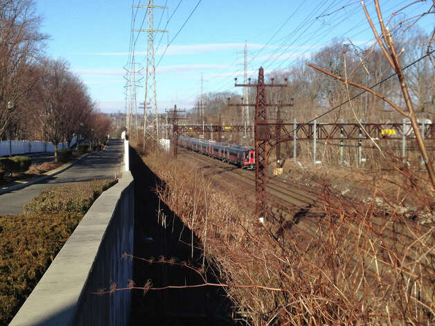 The train that fatally struck a man at the Noroton Heights train station, March 4, idles about 400 yards from where the incident took place. Photo: Contributed / Connecticut Post Contributed
