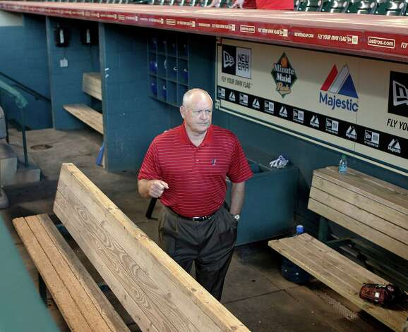 Texas Rangers CEO & PRESIDENT Nolan Ryan walks through the Rangers dugout at Minute Maid Park Wednesday, June 29, 2011, in Houston.  ( James Nielsen / Houston Chronicle ) Photo: James Nielsen, Staff / © 2011 Houston Chronicle