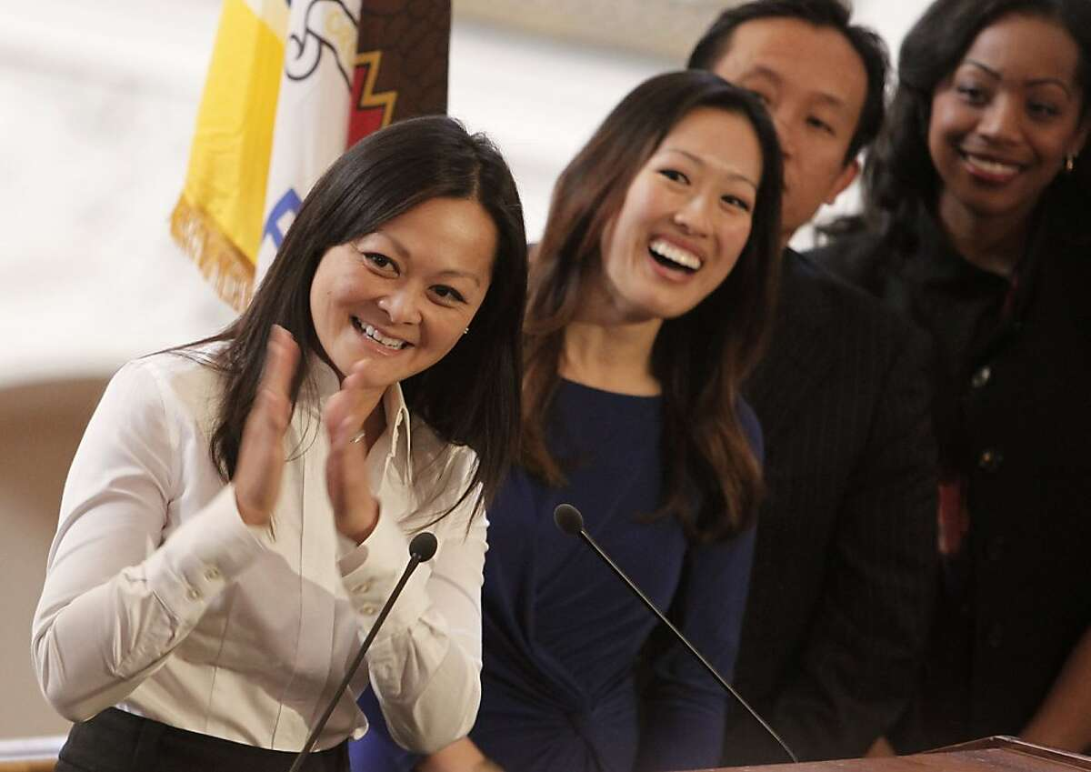 Remarks are made after the swearing in ceremony by new city officials, Carmen Chu, (left)) as the new San Francisco Assessor-Recorder and Katy Tang, (center) as the new Supervisor for District 4 at San Francisco City Hall on Wednesday Feb. 27, 2013.