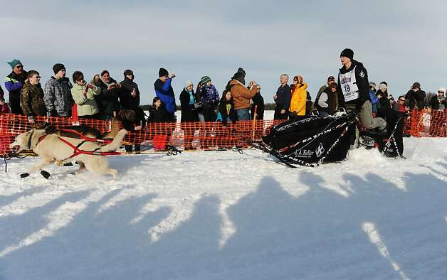 Dallas Seavey leaves the starting line of the Iditarod Trail Sled Dog Race, Sunday, March 3, 2013, in Willow, Alaska. 65 teams will be making their way through punishing wilderness toward the finish line in Nome on Alaska's western coast 1,000 miles away. Photo: Bob Hallinen, Associated Press