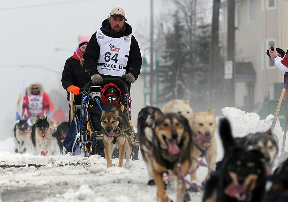 Matt Giblin (64) leads Mikhail Telpin (63) of Russia, as they near the Cordova Street hill during the ceremonial start of the ceremonial start of the Iditarod Trail Sled Dog Race on Saturday, March 2, 2013, in Anchorage, Alaska. The competitive portion of the 1,000-mile race is scheduled to begin Sunday in Willow, Alaska. (AP Photo/Anchorage Daily News, ) Photo: Bill Roth, Associated Press